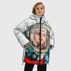 Женская зимняя 3D-куртка с капюшоном с принтом Гагарин в полете, цвет: 3D-черный, артикул: 10092034406071 — фото 2