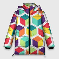 Куртка зимняя женская 3D кубы цвета 3D-черный — фото 1