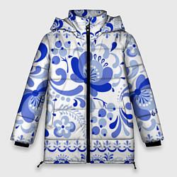 Куртка зимняя женская Гжель 2 цвета 3D-черный — фото 1