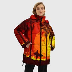 Женская зимняя 3D-куртка с капюшоном с принтом Summer Surf, цвет: 3D-черный, артикул: 10096432706071 — фото 2