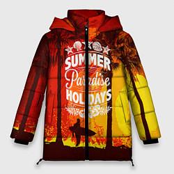 Женская зимняя 3D-куртка с капюшоном с принтом Summer Surf 2, цвет: 3D-черный, артикул: 10096433006071 — фото 1