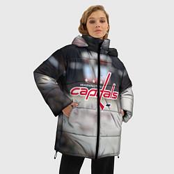 Женская зимняя 3D-куртка с капюшоном с принтом Washington Capitals, цвет: 3D-черный, артикул: 10099897106071 — фото 2