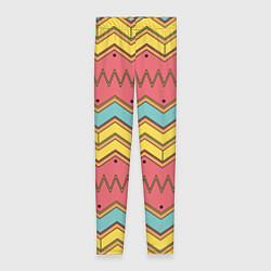 Леггинсы женские Цветные зигзаги цвета 3D — фото 1