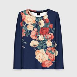 Женский 3D-лонгслив с принтом Fashion flowers, цвет: 3D, артикул: 10106182103592 — фото 1