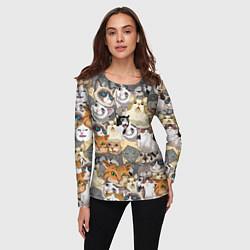 Лонгслив женский ALL CATS MEMES цвета 3D-принт — фото 2