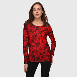 Лонгслив женский Красные розы цвета 3D-принт — фото 2