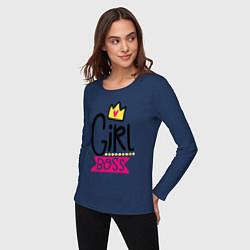 Лонгслив хлопковый женский Girl Boss цвета тёмно-синий — фото 2