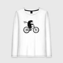 Женский лонгслив Ежик на велосипеде