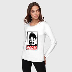 Лонгслив хлопковый женский BOOM: Kim Chen Eun цвета белый — фото 2
