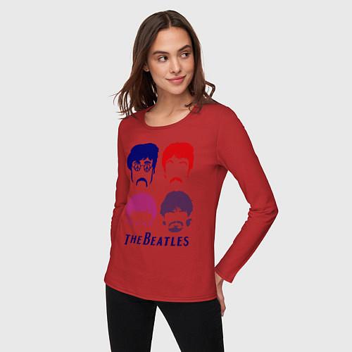 Женский лонгслив The Beatles faces / Красный – фото 3