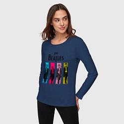 Лонгслив хлопковый женский Walking Beatles цвета тёмно-синий — фото 2