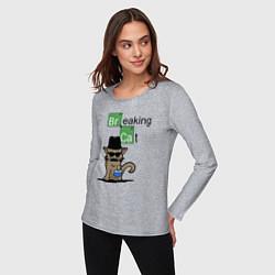Женский хлопковый лонгслив с принтом Breaking Cat, цвет: меланж, артикул: 10222763500016 — фото 2