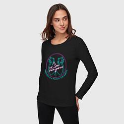 Лонгслив хлопковый женский Чёрное зеркало цвета черный — фото 2