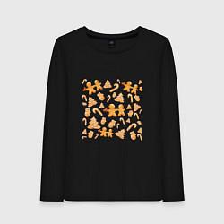 Лонгслив хлопковый женский Имбирные пряники цвета черный — фото 1