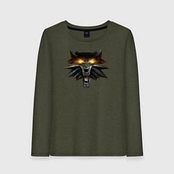 Лонгслив хлопковый женский Witcher 3 Wild Hunt цвета меланж-хаки — фото 1