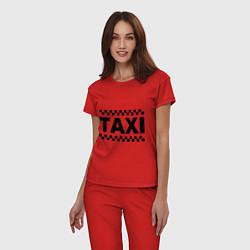 Пижама хлопковая женская Taxi цвета красный — фото 2