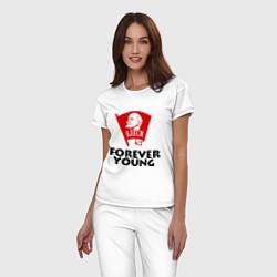 Пижама хлопковая женская ВЛКСМ цвета белый — фото 2