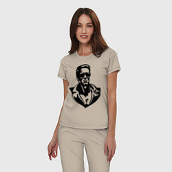 Пижама хлопковая женская Железный Арни цвета миндальный — фото 2