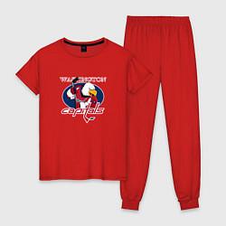 Пижама хлопковая женская Washington Capitals Hockey цвета красный — фото 1