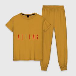 Пижама хлопковая женская ALIENS цвета горчичный — фото 1
