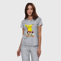 Пижама хлопковая женская Пикачу на голове Эша цвета меланж — фото 2