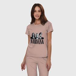 Пижама хлопковая женская Nirvana Group цвета пыльно-розовый — фото 2