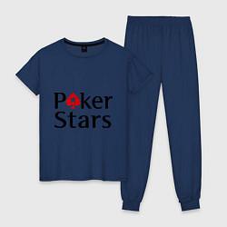Пижама хлопковая женская Poker Stars цвета тёмно-синий — фото 1