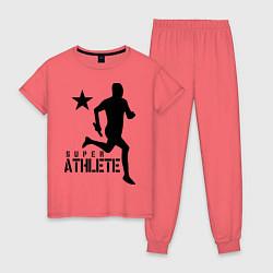 Пижама хлопковая женская Лёгкая атлетика цвета коралловый — фото 1