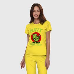 Пижама хлопковая женская Navy: Po-1967 цвета желтый — фото 2