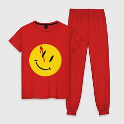 Пижама хлопковая женская Cмайл с кровью цвета красный — фото 1