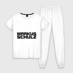 Пижама хлопковая женская Markus Schulz цвета белый — фото 1