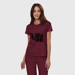 Пижама хлопковая женская Lie to me цвета меланж-бордовый — фото 2