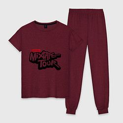 Пижама хлопковая женская AND1 Mixtape tour цвета меланж-бордовый — фото 1