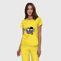 Пижама хлопковая женская Криминальное Чтиво цвета желтый — фото 2