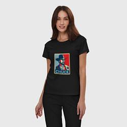 Пижама хлопковая женская Chuck Poster цвета черный — фото 2