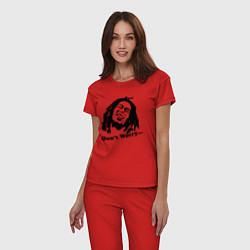 Пижама хлопковая женская Bob Marley: Don't worry цвета красный — фото 2