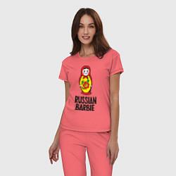 Пижама хлопковая женская Russian Barbie цвета коралловый — фото 2