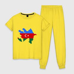 Пижама хлопковая женская Azerbaijan map цвета желтый — фото 1