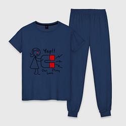 Пижама хлопковая женская Yap: Our love story цвета тёмно-синий — фото 1