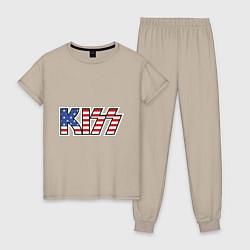 Пижама хлопковая женская KIss USA цвета миндальный — фото 1
