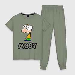Пижама хлопковая женская Moby цвета авокадо — фото 1
