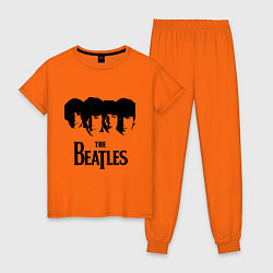 Пижама хлопковая женская The Beatles: Faces цвета оранжевый — фото 1