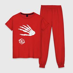 Пижама хлопковая женская Кукрыниксы: Кости цвета красный — фото 1