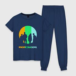 Пижама хлопковая женская Imagine Dragons: Evolve цвета тёмно-синий — фото 1