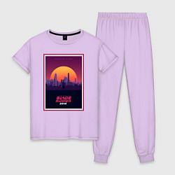 Пижама хлопковая женская Бегущий по лезвию 2049 цвета лаванда — фото 1