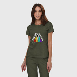 Пижама хлопковая женская Imagine Dragons: Evolve цвета меланж-хаки — фото 2