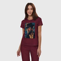 Пижама хлопковая женская Peaky blinders цвета меланж-бордовый — фото 2