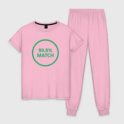 Пижама хлопковая женская 99.8% Match цвета светло-розовый — фото 1