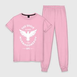 Пижама хлопковая женская The Eagle: Khabib UFC цвета светло-розовый — фото 1