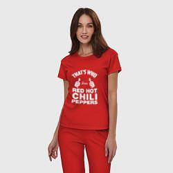 Пижама хлопковая женская That's Who Loves Red Hot Chili Peppers цвета красный — фото 2